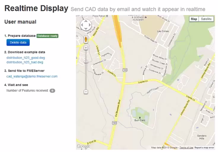 This scenario uses a notification service, database triggers, and Web Sockets to create a realtime map.