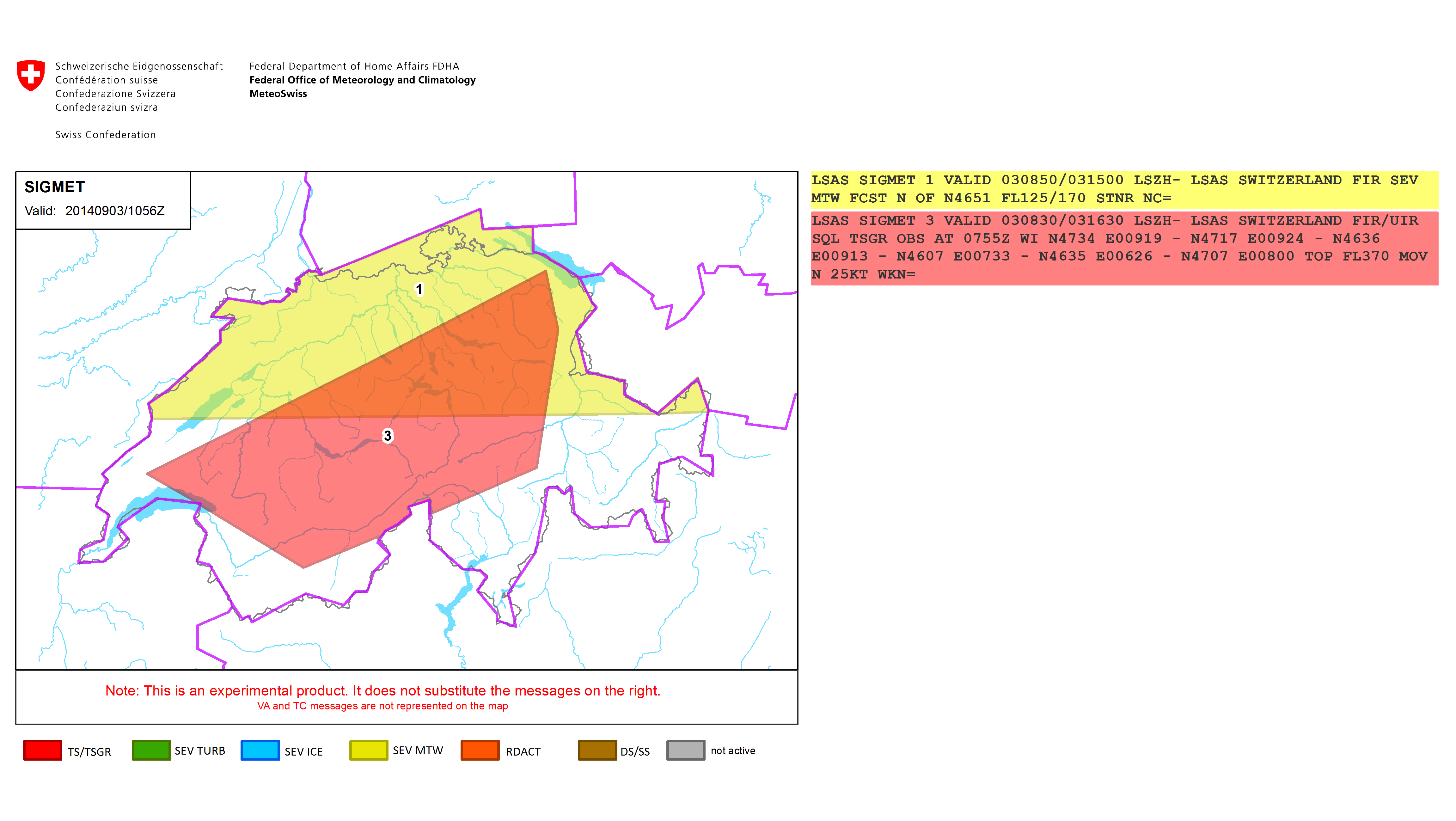 This sample report shows two overlapping SIGMET alerts. Click for a high-res version.
