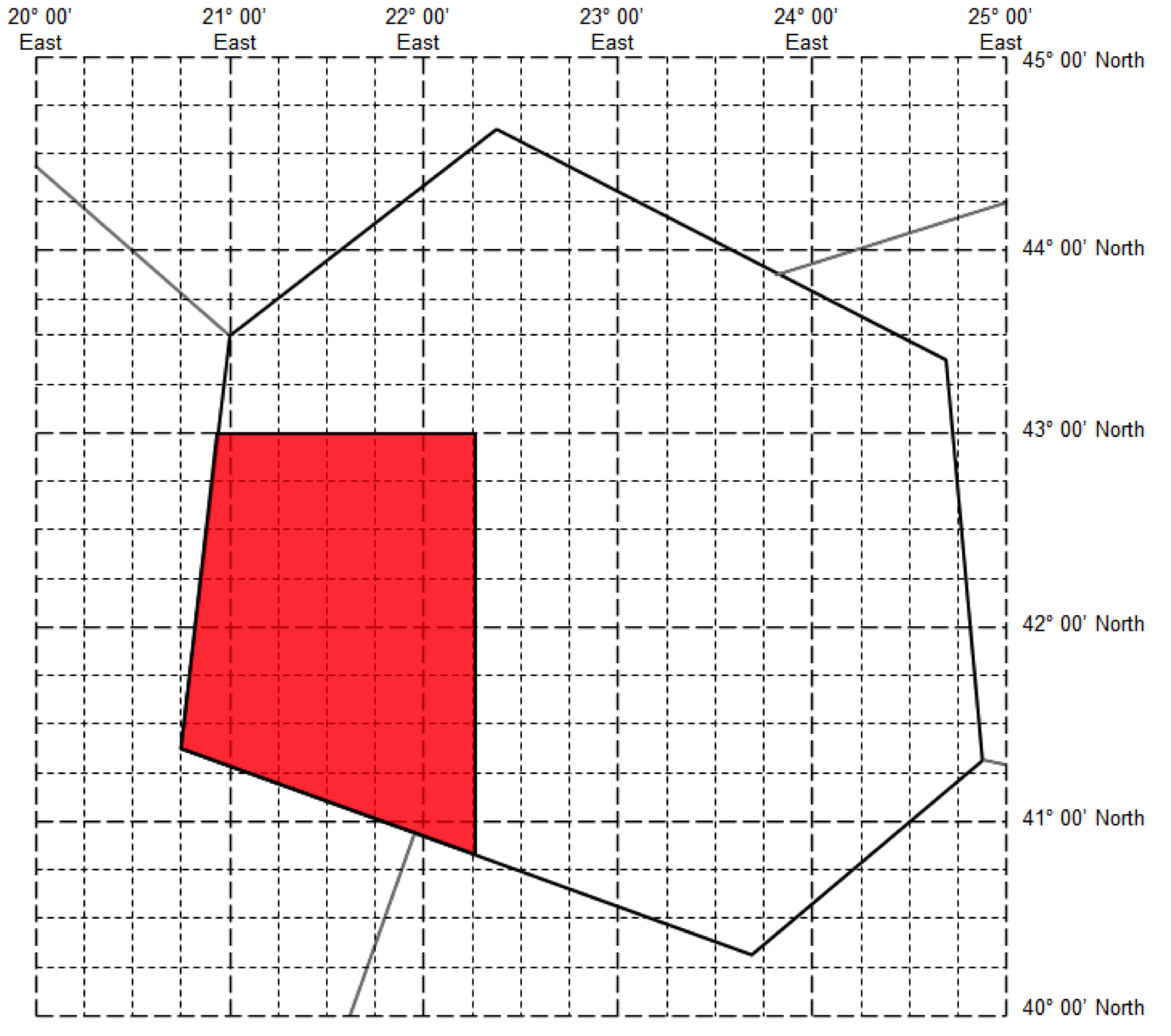 A polygon defined by one line of latitude and one of longitude, clipped to the administrative boundary (FIR).