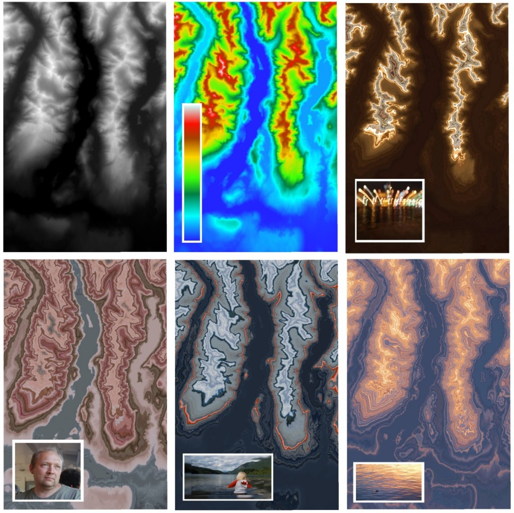 Original raster (top left) and several outputs using various images as a color ramp.