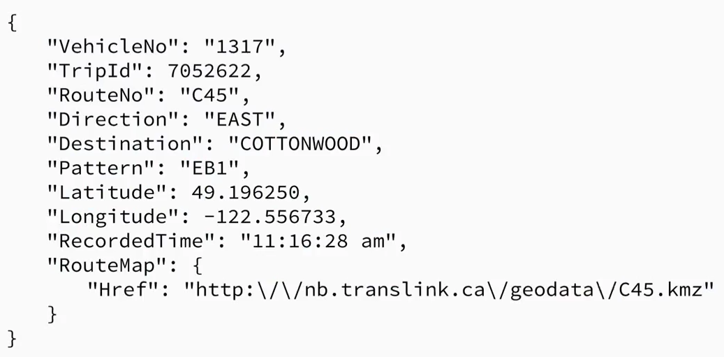 This JSON snippet of a real-time bus location from the TransLink API would do well in a NoSQL setup.
