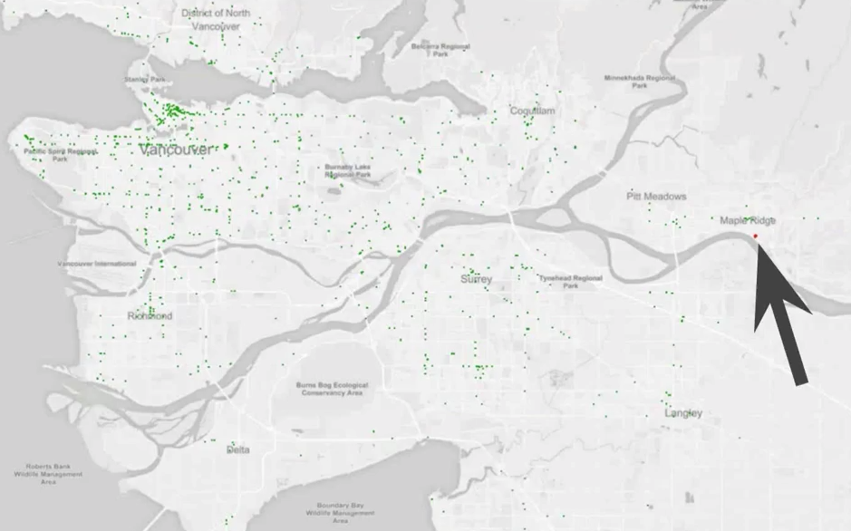 The above JSON from the TransLink API converted to point geometries and seen on a map.