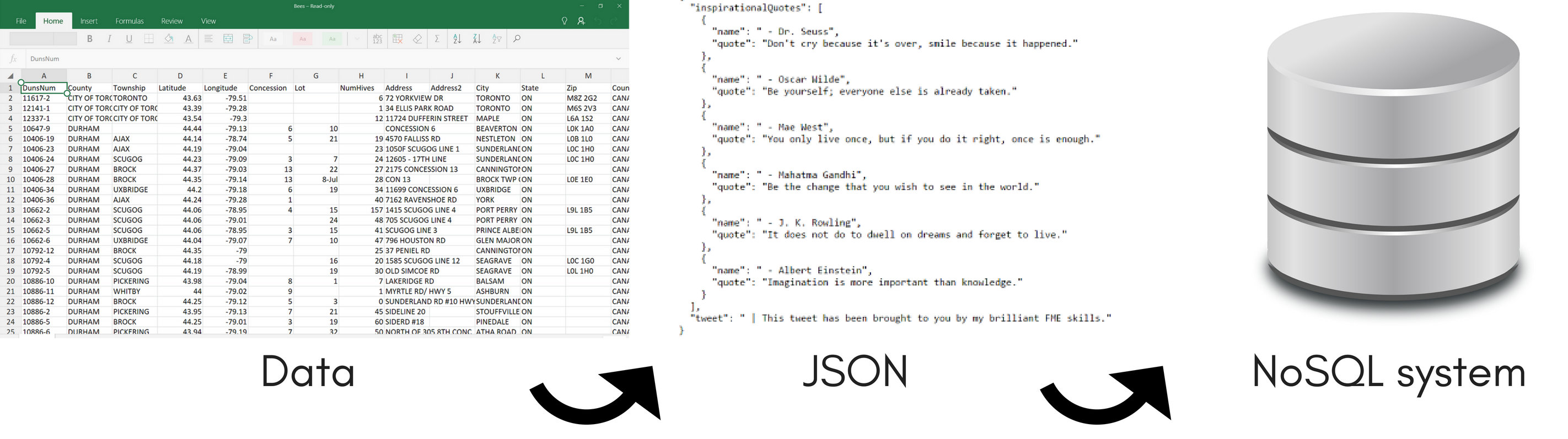 Data to JSON to NoSQL