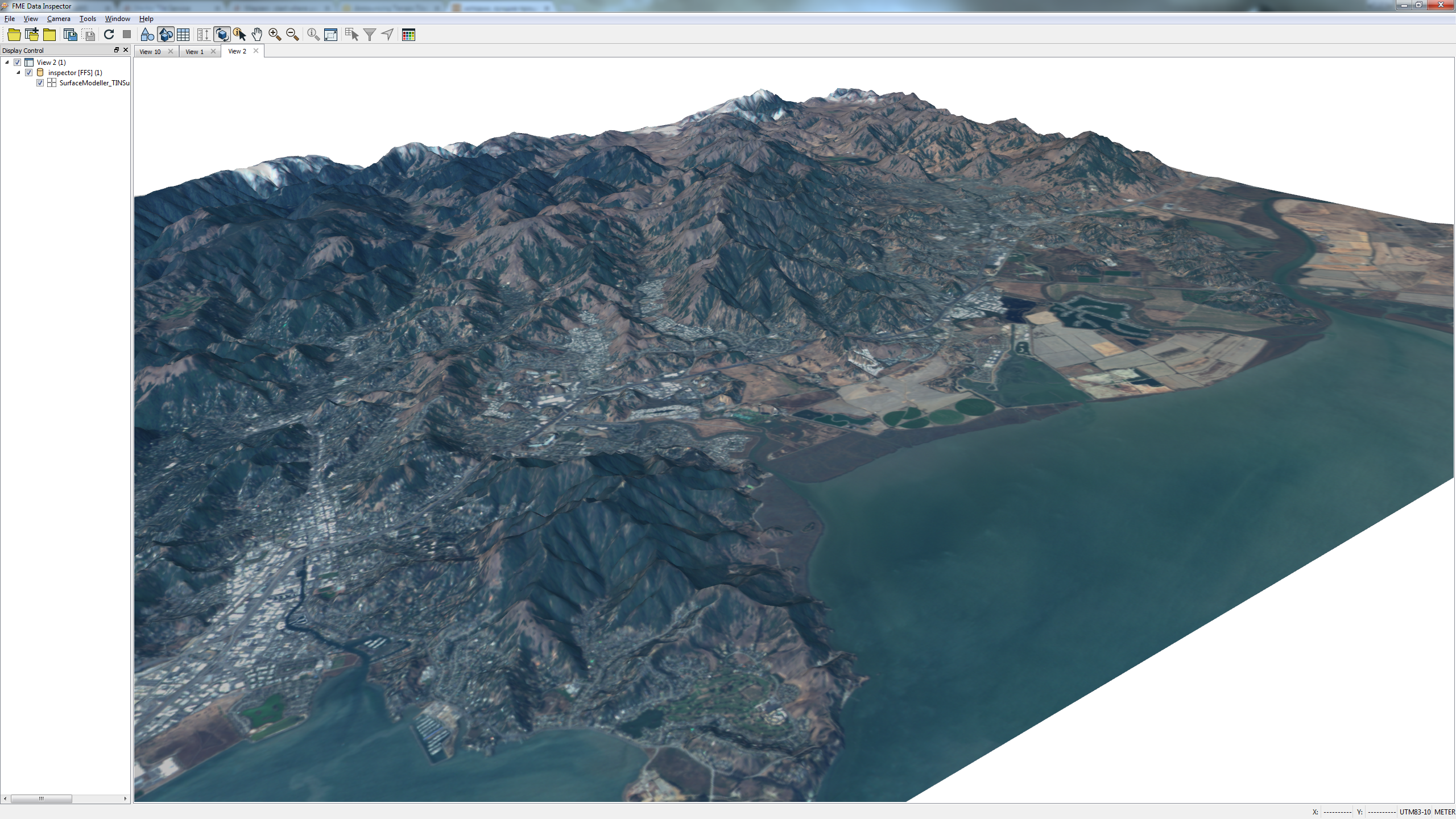 Raster image extruded to 3D, viewed in the FME Data Inspector.