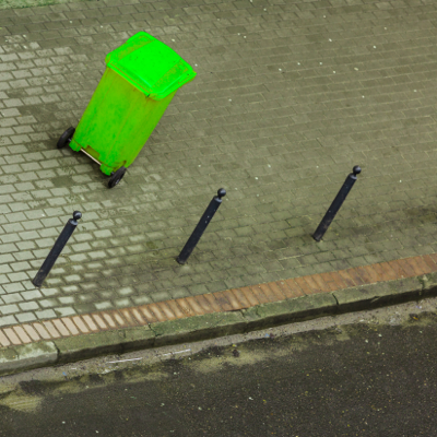 A lost and lonely recycling bin that needs a QR code