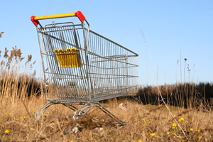 An even more lost and lonely shopping trolley, even more in need of a QR code