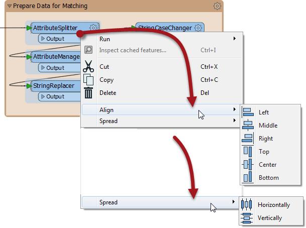 Alignment tools on the context menu